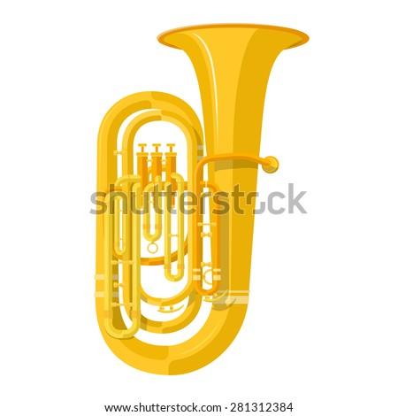vector color flat design tuba wind instrument vector illustration white background - stock vector