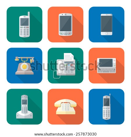 vector color flat design various telephones gadgets devices icons set long shadow  - stock vector