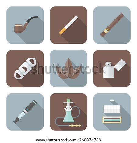 vector color flat design various tobacco goods accessories square icons set long shadow  - stock vector