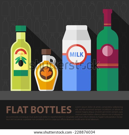 Vector color flat kitchen bottle set . Eps10 - stock vector