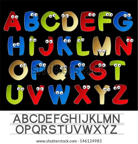 Vector color font alphabet with eyes