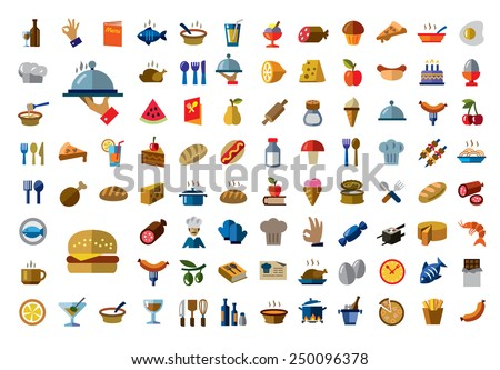 vector color food icons on white background - stock vector