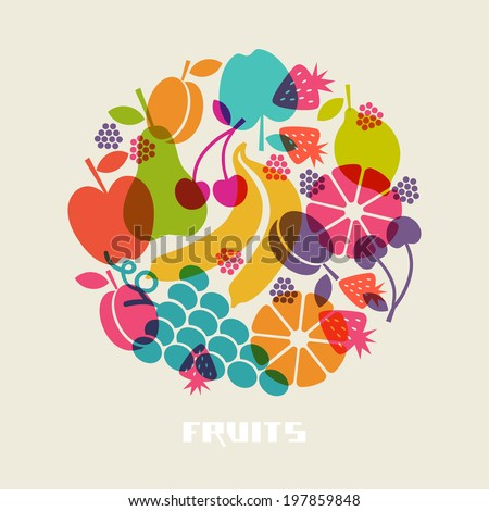 Vector color fruits icon. Food sign. Healthy lifestyle illustration for print, web. Circle design element - stock vector