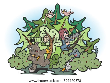 Vector Color Funny Forest Animals Illustration - stock vector