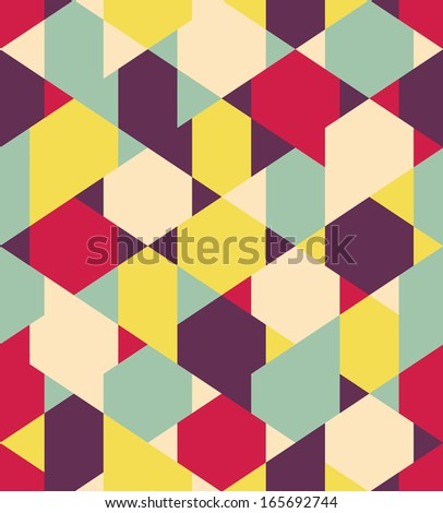 Vector color geometric seamless pattern - stock vector