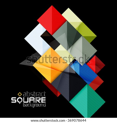 Vector color geometric shapes on black background - stock vector