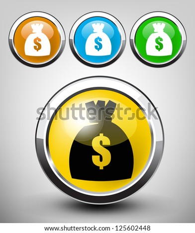 vector color glossy money bag icon set for web applications - stock vector