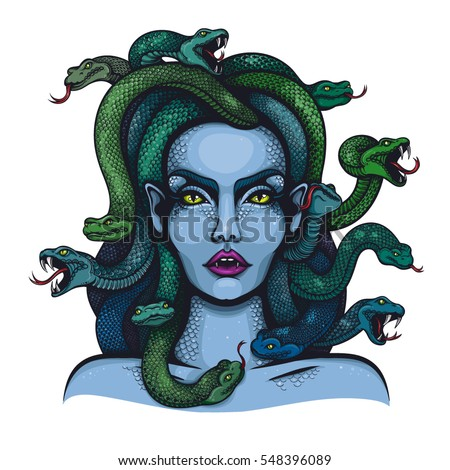 Vector Color Goddess Medusa Gorgon Woman Stock Vector
