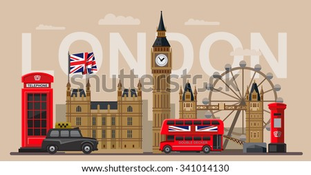 vector color great britain and london icon set - stock vector
