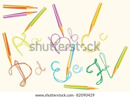 vector color  hand drawing letters for your design, abcdf