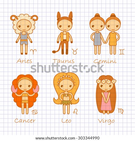 vector color hand drawing zodiac signs Aries, Taurus, Gemini, Cancer, Leo, Virgo - stock vector