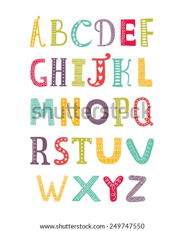 Vector color hand drawn alphabet isolated on white background, doodle letters collection - stock vector