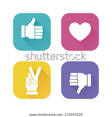 Vector color hands. Social network icons. Thumbs up icon. Like and Dislike icons. Victory sign. Flat style - stock vector