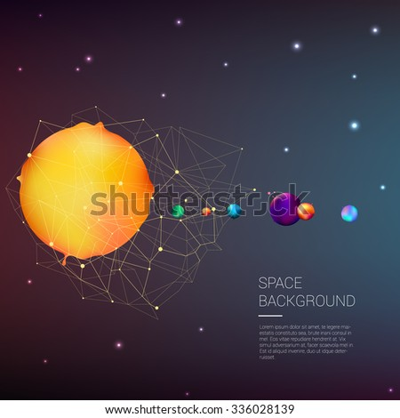 Vector Color Illustration Alternative Solar System With Planets