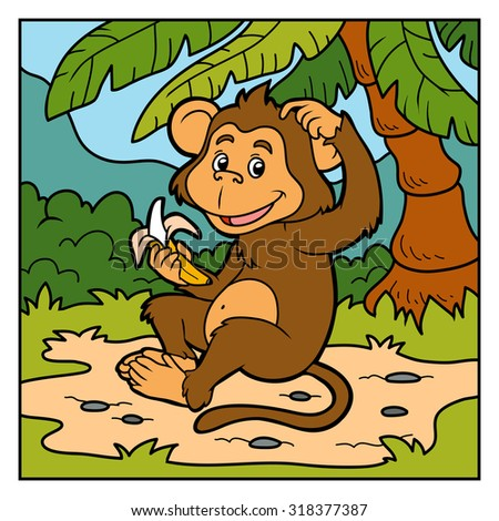 Vector color illustration for children (little monkey with a banana)