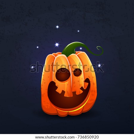 Vector color illustration of cartoon Halloween pumpkin with face on dark shabby background. Object image to create original web games, graphic design