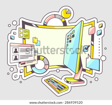 Vector color illustration of office workplace with charts and monitor on light background. Hand draw line art design for web, site, advertising, banner, poster, board and print.