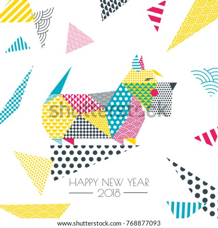 Vector color illustration scottish terrier dog stock vector vector color illustration of scottish terrier dog with patchwork geometric triangle texture creative new year m4hsunfo