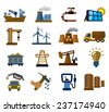 vector color industry icons set on white - stock vector