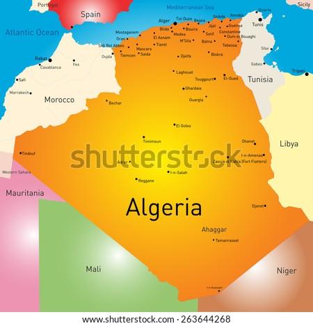 Vector color map of Algeria  - stock vector