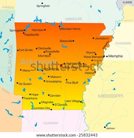 Vector color map of Arkansas state. Usa - stock vector
