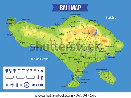 Vector color map of Bali with capital Denpasar, important cities and roads. All objects are located on separate layers.