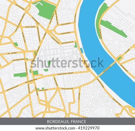 Vector color map of Bordeaux, France. All objects are located on separate layers. Elements of this image are furnished by NASA.