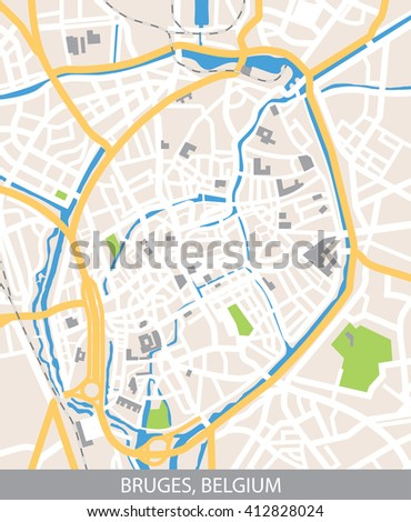 Vector color map of Bruges, Belgium. All objects are located on separate layers. Elements of this image are furnished by NASA.