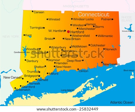 Vector Color Map Connecticut State Usa Stock Vector - Hartford usa map