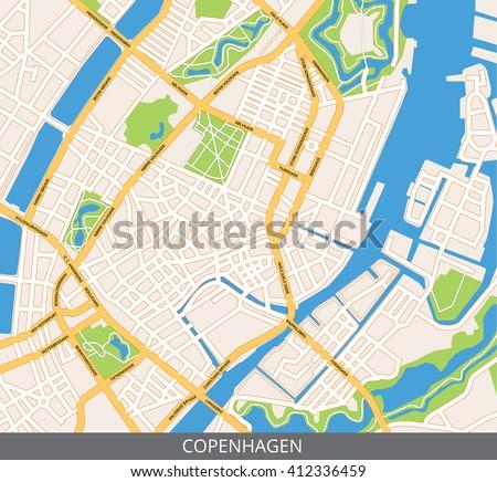 Vector Color Map Copenhagen Capital Denmark Stock Vector - Where is copenhagen located
