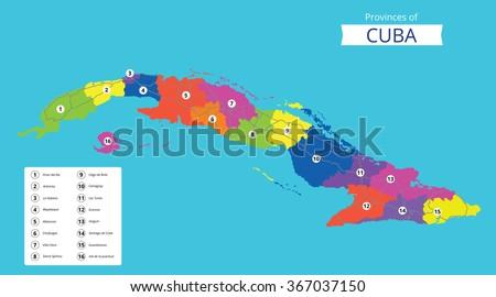 Vector Color Map Cuba Capital Havana Stock Vector - Cuba provinces map