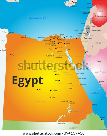 Abstract Vector Color Map Egypt Country Stock Vector - Map of egypt 1920
