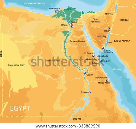 Vector color map of Egypt with capital Cairo, important cities and islands. All objects are located on separate layers. Elements Of This Image Are Furnished By Nasa. - stock vector