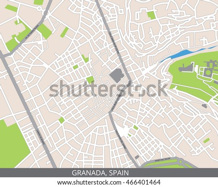Vector color map of Granada, Spain. All objects are located on separate layers.