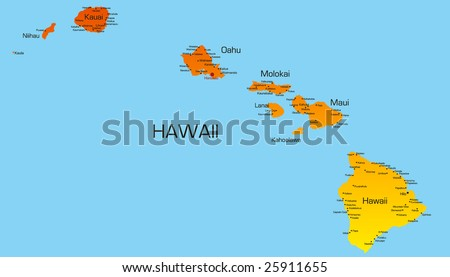 Vector color map of hawaii state. Usa - stock vector