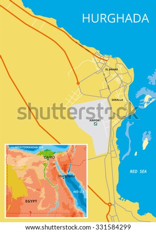 Vector Color Map Hurghada Egypt All Stock Vector - Map of egypt landforms