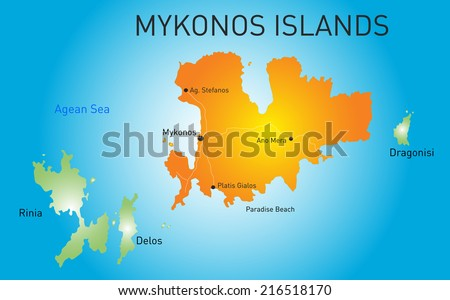 Vector color map of Island of Mykonos in Greece