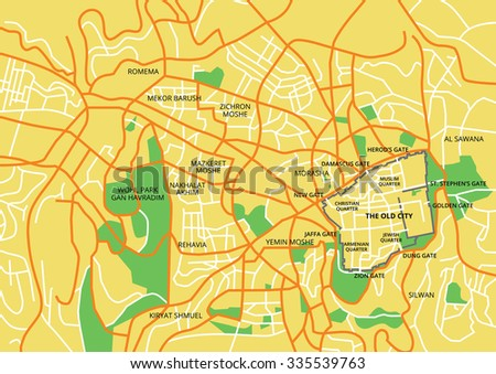 Vector Color Map Jerusalem All Objects Stock Vector - Where is jerusalem located