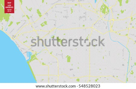 Vector Color Map Los Angeles USA Stock Vector 2018 548528023