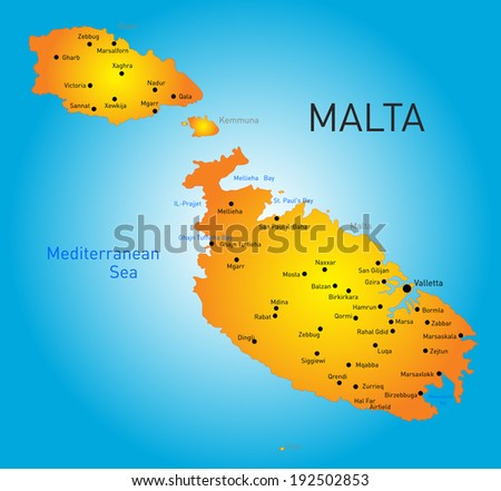 vector color map of Malta country