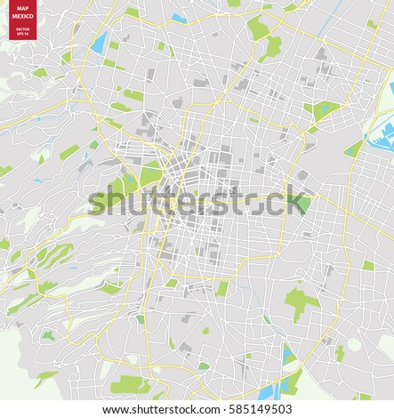 vector color map of mexico city mexico city plan of mexico city vector