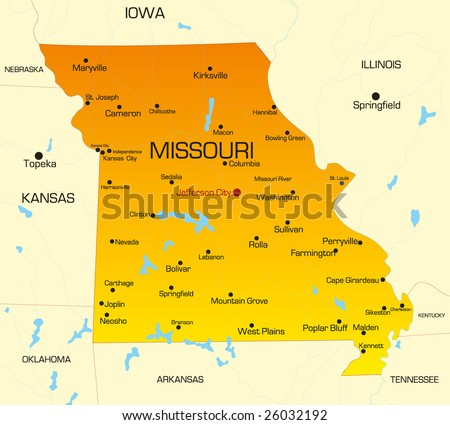 Vector color map of Missouri state. Usa - stock vector