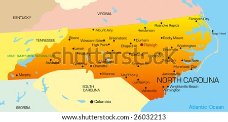 Vector color map of North Carolina state. Usa - stock vector