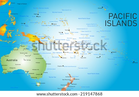 Vector color map of Pacific islands  - stock vector