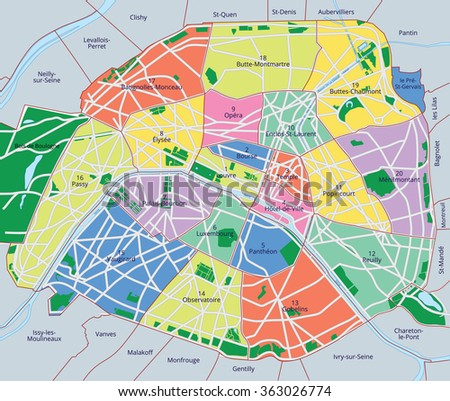 Vector color map of Paris. All objects are located on separate layers.