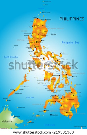Vector color map of Philippines - stock vector