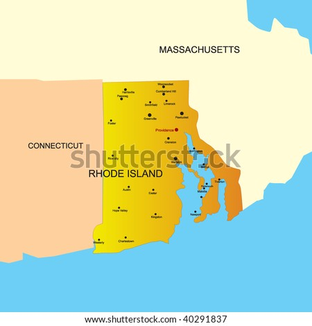 Vector color map of Rhode Island state. Usa - stock vector