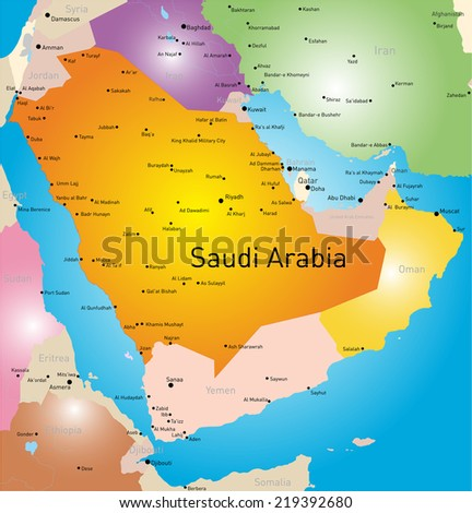 vector color map of Saudi Arabia country - stock vector