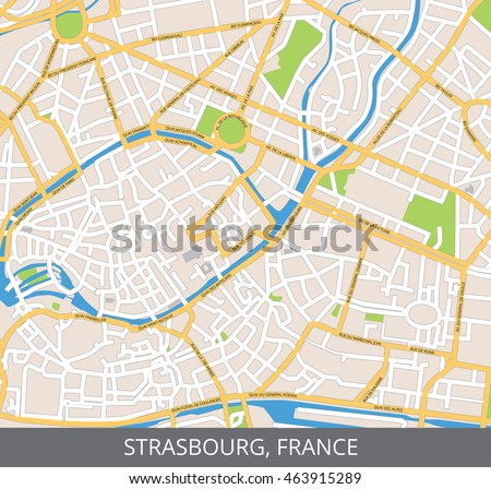 Vector Color Map Strasbourg France All Stock Vector - Strasbourg france map