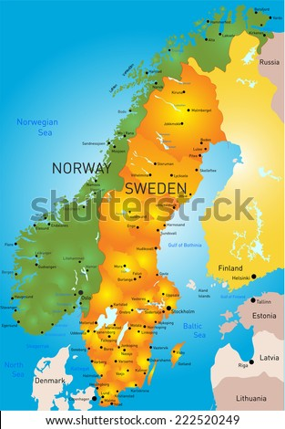 Vector Color Map Sweden Country Stock Vector Shutterstock - Norway map vector countries
